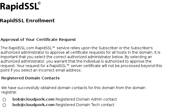 Screenshot of RapidSSL UI showing bob@cloudpork.com as an acceptable administrative email address