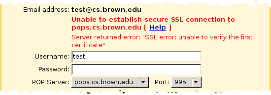 Screenshot showing error message 'Unable to establish secure SSL connection'
