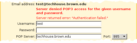 Screenshot showing error message 'Server denied POP3 access for the given username and password'